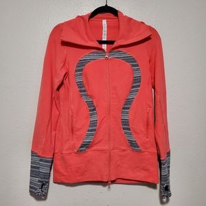 Lululemon in stride jacket coral gray workout